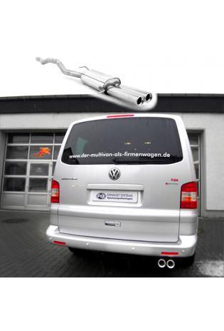 FOX Sportauspuff VW Bus T5 + T6 2.0l  3.2l und Diesel 2 x 80mm mit Absorber