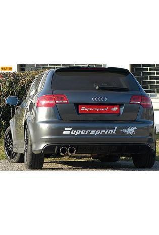Supersprint Sportauspuffanlage 2x90 rund mit Metall-Kat. - Audi RS3 Sportback Quattro 2.5 TFSI ab Bj. 11
