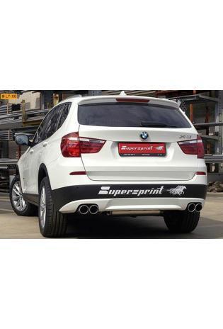 Supersprint Sportauspuff Duplex-Endschalldämpfer rechts-links je 2x90 rund - BMW X3 F25 35i und 35d ab Bj. 11