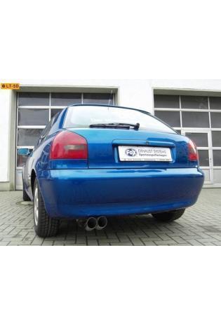 FOX RACING Komplettanlage ab Kat Audi A3 Typ 8L 1.6l  1.8l  1.8l T  1.9l TDI 2 ER 76mm  uneingerollt  DTM  ohne Absorber Edelstahl (AnschlussØ 63.5mm)