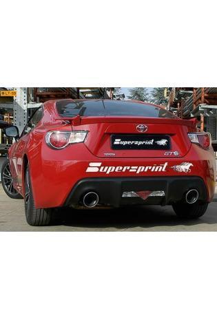 Supersprint Sportauspuff Komplettanlage rechts-links 120 rund inkl. Fächerkrümmer und Kat.  Toyota GT86 2.0i und Subaru BRZ 2.0i ab 2012