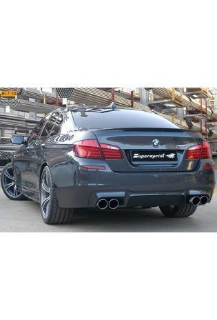 Supersprint Sportauspuff Komplettanlage rechts-links 2x100 mit Klappensteuerung inkl. Downpipes mit Metall-Kat. und Mittelrohr rechts-links - BMW F10 M5 V8 ab Bj. 12