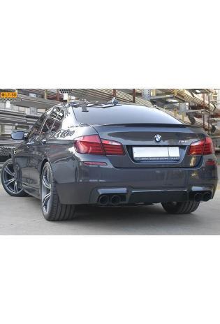 Supersprint Sportauspuff Komplettanlage rechts-links 2x100 schwarz inkl. Downpipes mit Metall-Kat. und Mittelrohr rechts-links - BMW F10 M5 V8 ab Bj. 12