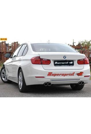 Supersprint Sportauspuff Komplettanlage rechts-links je 2x80 rund inkl. Downpipe mit Metall-Kat. - BMW F30-F31 328i 2.0T ab Bj. 12