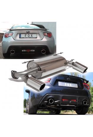 FOX Duplex Sportauspuff Subaru BRZ u. Toyota GT86 2.0l ab Bj. 12 - rechts links je 1 x 100mm schräg (RohrØ 63.5mm)