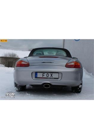 FOX Sportauspuff Porsche Boxster Typ 986 2.7l 3.2l ab Bj. 99 - 1 x 140x90mm oval Ausgang mittig (RohrØ 45mm)