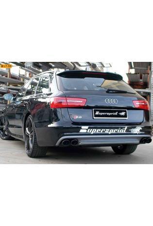 Supersprint Duplex-Sportauspuffanlage rechts-links 2x 100x75 schwarz mit Mittelrohr H-Pipe - Audi S6 und S7 4.0T ab Bj. 2012