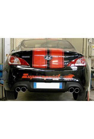Supersprint Sportauspuffanlage rechts-links 2x rund Race-Version ab Serien-Kat. - Hyundai Genesis Coupe 2.0i RS Turbo ab Bj. 11