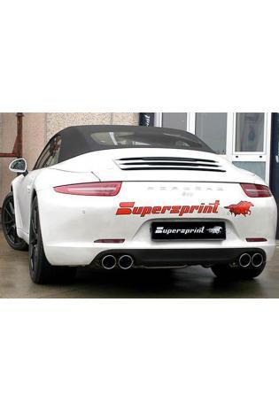Supersprint Sportauspuff Komplett-Racinganlage mit Klappensteuerung rechts-links 2x90 rund - Porsche 991 Carrera S und 4S 3.8i ab Bj. 2012