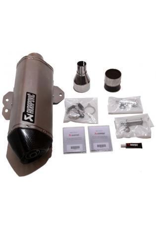 Akrapovic Hexagonal Schalldämpfer(350mm) in Edelstahl mit dB-Eater und Kat, VBR in Edelstahl Typ Slip-on Linie für DERBI GP1 250 Bj. 06-11