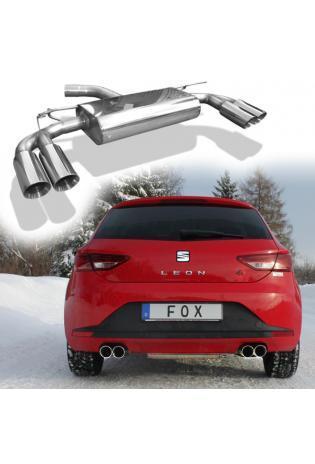 FOX Sportauspuff Endschalldämpfer für Seat Leon Typ 5F + SC ab Bj. 12 Endrohre rechts links 2 x 80mm