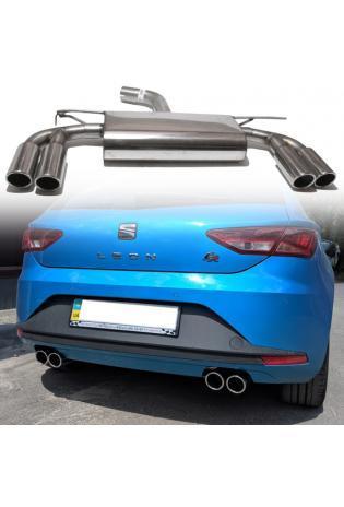 FOX Sportauspuff Endschalldämpfer für Seat Leon Typ 5F +SC  ab Bj. 12 Endrohre rechts links 2 x 80mm