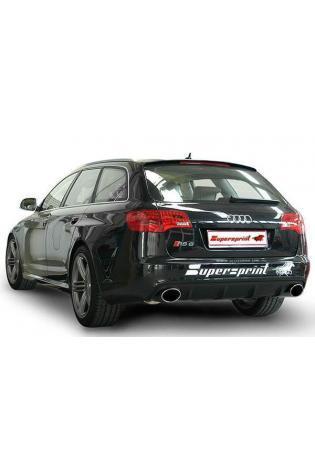 Supersprint Sportauspuff Audi A6 RS6 Quattro 5.0i ab Bj. 10 - Duplex-Racinganlage mit Metall-Kat. rechts-links je 150x105mm