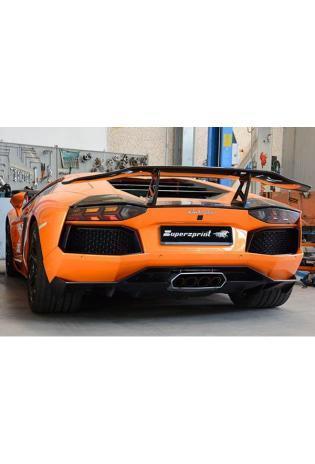 Supersprint Sportauspuff Lamborghini Aventador LP 700-4 V12 ab Bj. 11 - Racing-Anlage mit Metall-Kat. und X-Rohr 4 Endrohre rund