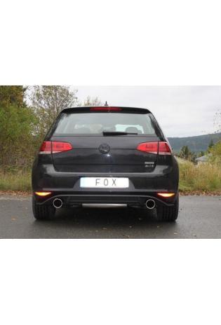 Fox Komplettanlage ab Kat VW Golf 7 2.0l GTI ab Bj. 12 - rechts links je 1 x 100mm schräg (RohrØ 70mm)