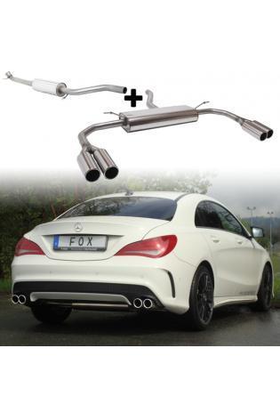Fox Sportauspuff Komplettanlage ab Kat Mercedes CLA C117+X117 180 200 250 re/li je 2 x 80mm für senkrechten Kat.