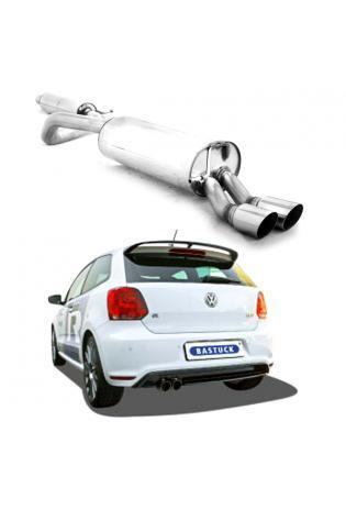 Bastuck Komplettanlage ab Kat. VW Polo 6R 2.0l WRC - 2 x 76mm schräg (RohrØ 63mm)