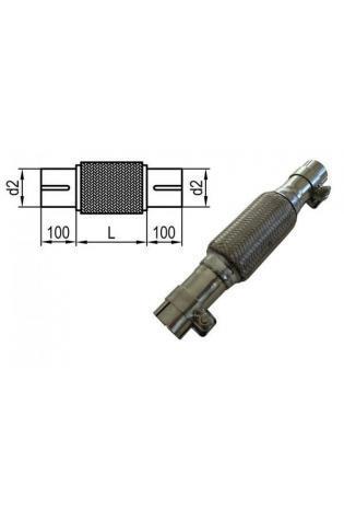 Fox Universal Flexrohr mit Edelstahl-Anschlussrohren - geschlitzt und mit Schelle Ø 50mm (d1) Länge 100mm