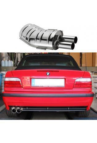 EISENMANN Sportauspuff Endschalldämpfer Edelstahl BMW E36 - 2 x 70mm gerade poliert