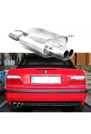 EISENMANN Sportauspuff Endschalldämpfer Edelstahl BMW E36 Compact bis Bj. 99 - 2 x 70mm gerade poliert