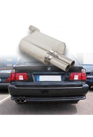 EISENMANN Sportauspuff Endschalldämpfer Edelstahl BMW 5er E39 520i  523i  525i  528i  530i Touring mit Serien-Heckschürze - 2 x 76mm gerade poliert