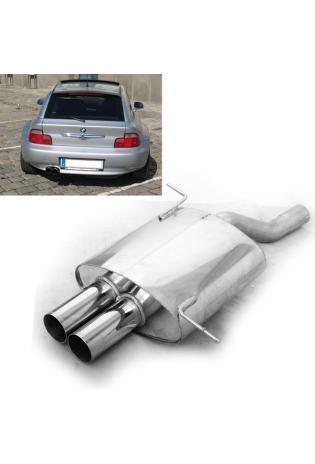 EISENMANN Sportauspuff Endschalldämpfer Edelstahl BMW Z3 E36-7 und E36-8 bis Bj. 99 2.0l  2.8l - 2 x 76mm gerade poliert