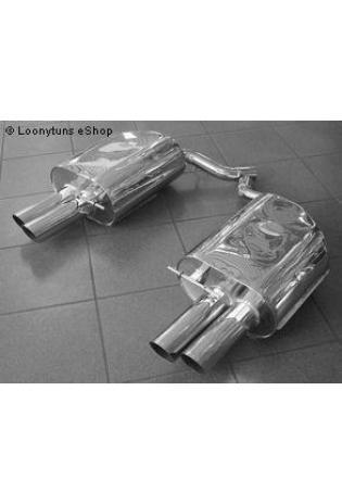 EISENMANN Sportauspuff Duplex Endschalldämpfer Edelstahl BMW E63 Coupe und E64 Cabrio 650Ci - rechts links je 2 x 83mm gerade poliert