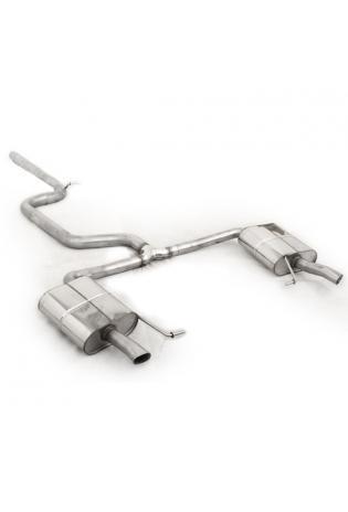 FOX Sportauspuff Komplettanlage ab Kat für Skoda Octavia RS 5E TDI, rechts/links, Austritt der Endrohre an den originalen Endrohren