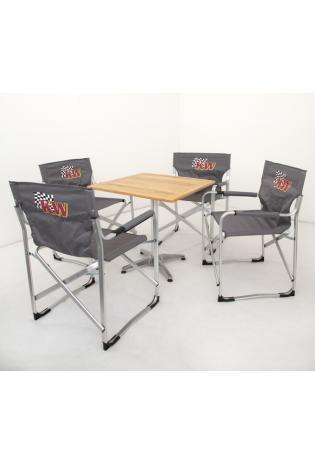 KW Regiestuhlset 2014 grau mit Holztisch