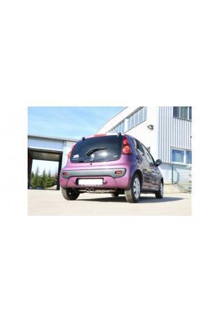 Fox Sportauspuff Endschalldämpfer für CitroenC1 Peugeot 107 Toyota Aygo Ausgang mittig 2x86x54 Typ 32