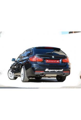 Supersprint Sportauspuff duplex Racinganlage für BMW 3er F30 Limousine und F31 Touring Endrohre je 1x100