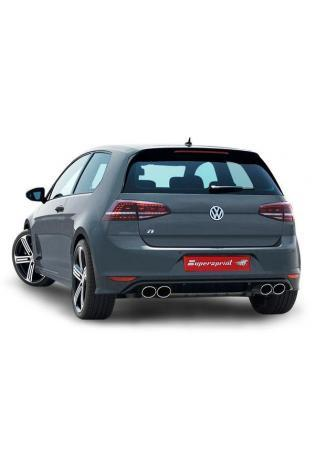 Supersprint Sportauspuff duplex Racinganlage ab Turbo mit Kat. 100 CPSI für VW Golf VII R 2.0 TFSI ab Bj.14 Endrohre je 2x100x75mm