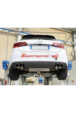 Supersprint Sportauspuff duplex Racinganlage ab Turbo mit Kat. 100 CPSI für VW Golf VII R 2.0 TFSI ab Bj.14 Endrohre je 2x90mm