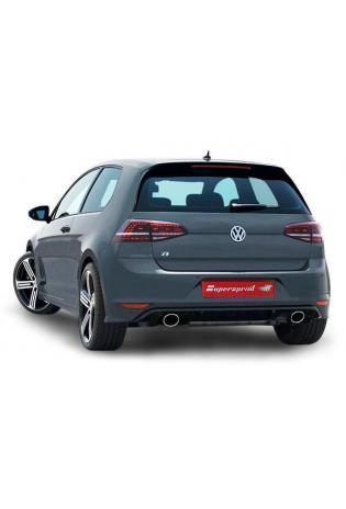 Supersprint Sportauspuff duplex Racinganlage ab Turbo mit Kat. 100 CPSI für VW Golf VII R 2.0 TFSI ab Bj.14 Endrohre je 145x95mm