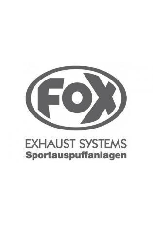 """FOX Sticker Anthrazit - geplottet  Höhe: 100mm  Breite: 100mm - FOX Logo mit Schrift EXHAUST SYSTEMS - Sportauspuffanlagen"""""""
