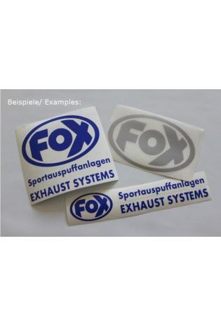 """FOX Sticker Chrom - geplottet  Höhe: 100mm  Breite: 100mm - FOX Logo mit Schrift """"EXHAUST SYSTEMS - Sportauspuffanlagen"""""""
