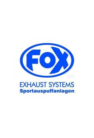 """FOX Sticker Blau - geplottet  Höhe: 100mm  Breite: 100mm - FOX Logo mit Schrift """"EXHAUST SYSTEMS - Sportauspuffanlagen"""""""