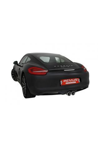 REMUS Sportauspuff duplex Endschalldämpfer Porsche Cayman u. Boxster - Endrohre mittig 2x98mm schwarz