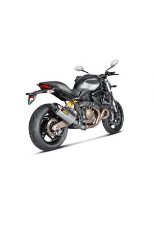 Akrapovic Hexagonal Schalldämpfer in Titan mit dB-Eater VTUV154, Kat-Rohr in Titan Typ Slip-on Linie für DUCATI 821 Monster Bj. 14