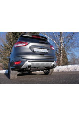 FOX Duplex Sportauspuff Ford Kuga II 4x4  Ausgang rechts/links - 115x85mm oval, eingerollt, 15° abgeschrägt, mit lang gezogener Tulpe