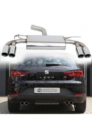 FOX Sportauspuff Endschalldämpfer für Seat Leon 5F +SC mit Starrer Hinterachse Endrohre re/li 2x80 mm