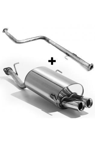 FOX Racing Komplettanlage für Honda Prelude IV BB2 und BB3 Bj. 92-96 zwei Endrohre einseitig 2x76mm Typ 13 Rohrquerschnitt 50 mm