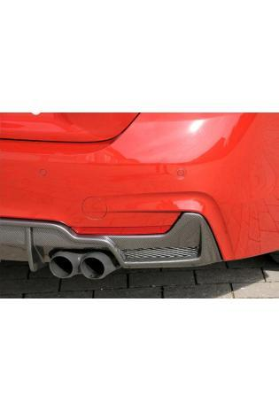 Rieger Heckansatz BMW 4er Coupe Cabrio Grand Coupe F32 F33 F36 ABS Carbon Look mit Gitter für re/li 2x80mm