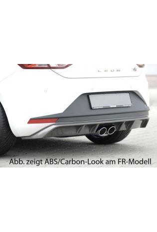 Rieger Heckschürzenansatz schwarz glänzend für Seat Leon 5F SC Bj 2012 für Doppelendrohr mittig