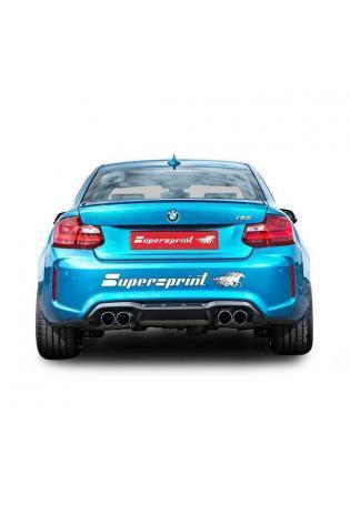 Supersprint Sportauspuff Duplex Endschalldämpfer mit Klappensteuerung für BMW M2 Coupe F87 mit re/li 2x80mm rund eingerollt