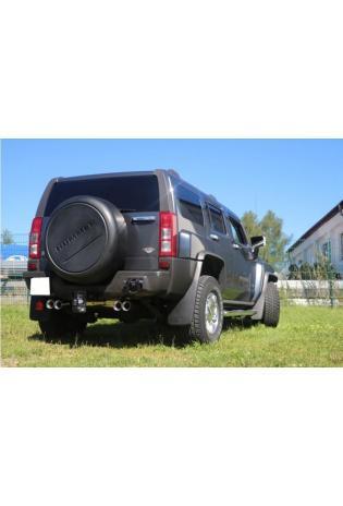 FOX Duplex Sportauspuff Endschalldämpfer 2x100mm rund Hummer H3 5.3 V8 AWD 224 kW/305 PS ab Bj. 2008