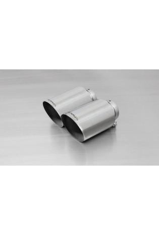 REMUS Endrohr-Set 2x115mm, schräg, verchromt, mit einstellbarem Kugelanschluss
