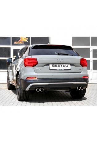 GESTEC Duplex Endschalldämpfer Sportauspuff 2x80mm Audi Q2 1.4l TFSI ab Bj. 2016