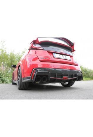 FOX Duplex Sportauspuff Komplettanlage ab Kat. quer Honda Civic IX Type R re/li je 2x90mm Typ 25 schwarz