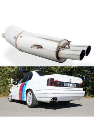 FOX Sportauspuff Endschalldämpfer BMW 5er E34 525i/530i 2x76mm Typ 14